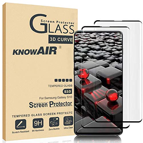 KNOWAIR Galaxy S10 Screen Protector,Full Coverage Tempered Glass[2 Pack][3D Curved][Solution for Ultrasonic Fingerprint]Tempered Glass Screen Protector Suitable for Galaxy S10