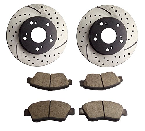 Atmansta QPD10017 front Brake kit with Drilled/Slotted Rotors and Ceramic Brake pads for 2002-2006 Acura RSX Base 2004-2005 Honda Civic Si (Honda Civic Base)