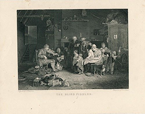 Family entertained by fiddle music c. 1850 fine old vintage engraved ()