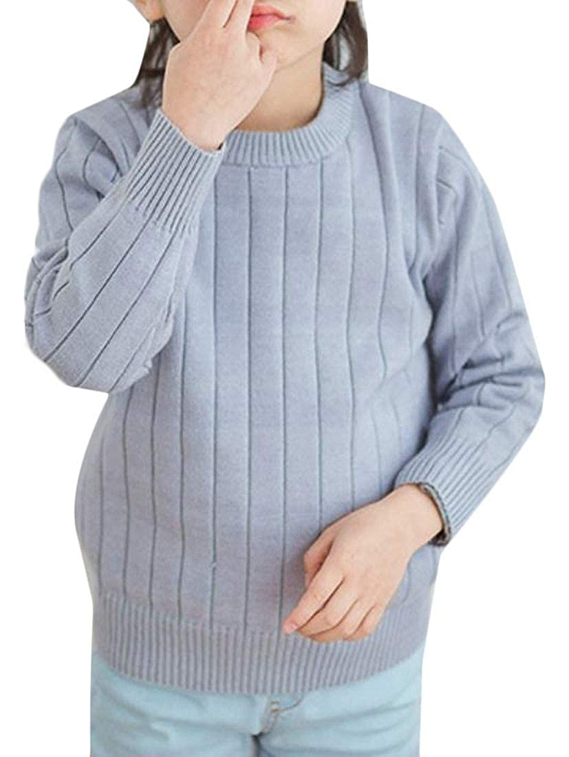 Hajotrawa Girls Round Neck Knitwear Pullover Jumper Fall Winter Pure Color Sweater