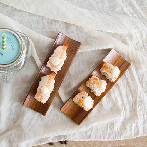 Wooden Dumplings Sushi Serving Tray Oblong Plate Salad Bread ()
