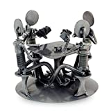 NOVICA Metallic Handcrafted Recycled Metal Auto Part Sculpture, Rustic Poker Game'