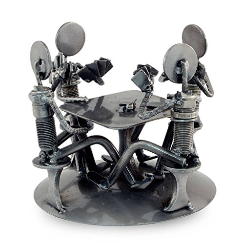 NOVICA Metallic Handcrafted Recycled Metal Auto Part Sculpture, Rustic Poker Game' by NOVICA