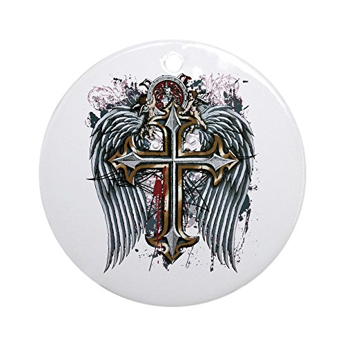Ornament (Round) Cross Angel Wings