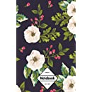 """GM&Co: Notebook Journal Dot-Grid, Lined, Graph, 120 pages 5.5""""x8.5"""": Midnight Blue Classic Floral (Floral Notebook)"""