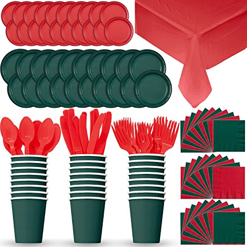 Disposable Paper Dinnerware for 24 - Red & Green (Holiday) - 2 Size plates, Cups, 2 Different Color Napkins, Cutlery (Spoons, Forks, Knives), and tablecovers - Full Party Supply Set Something Different For Christmas Dinner