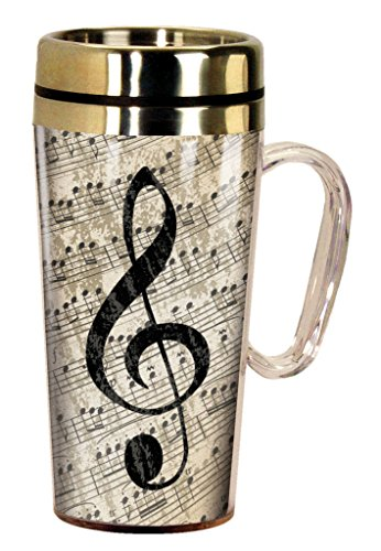 Spoontiques 17242 Music Insulated Travel Mug, Multi - Love Music Directors