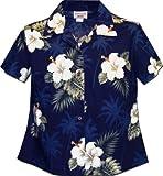 Ladies Aloha Shirts Hibiscus Island Navy S 348-2798