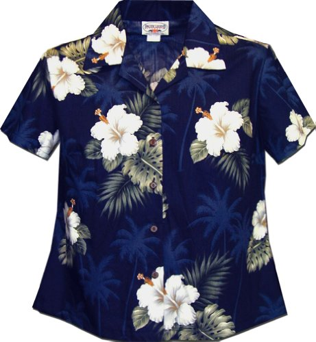 Ladies Aloha Shirts Hibiscus Island Navy 2XL (Island Hibiscus Hawaiian Shirt)