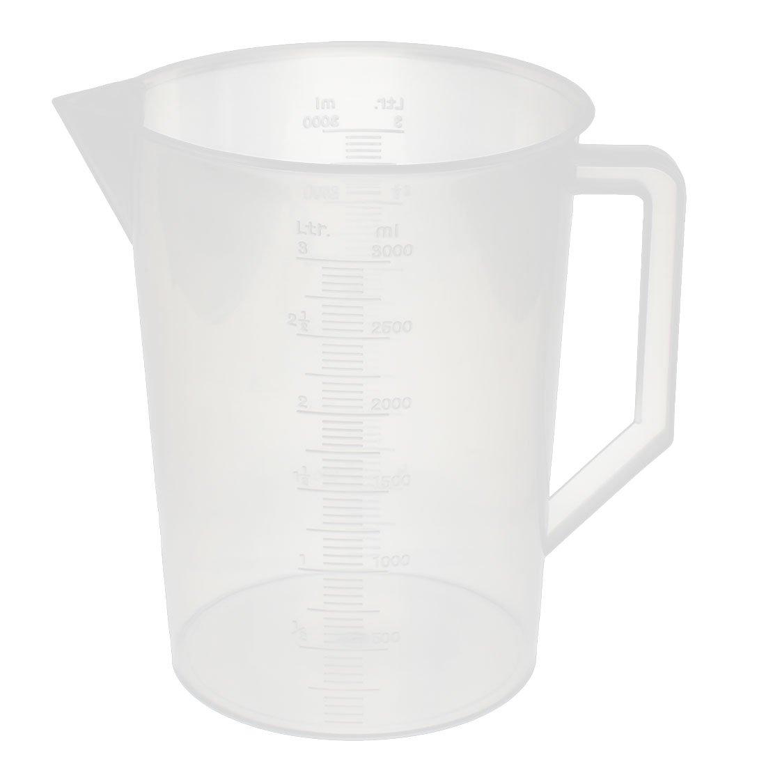 uxcell/® Kitchen Labotary 3000ml Plastic Measuring Cup Jug Pour Spout Container