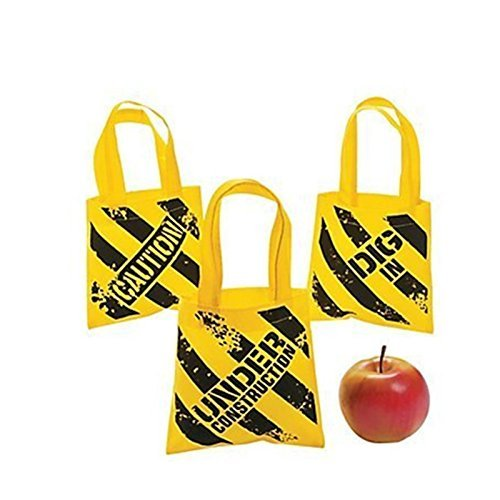 Fun Express Construction Zone Mini Tote Bags - (24 Pack)