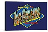 Los Angeles, California - Greetings - Big Letter Scene - Contour - Vintage Postcard 99106 (18x12 Gallery Wrapped Stretched Canvas)
