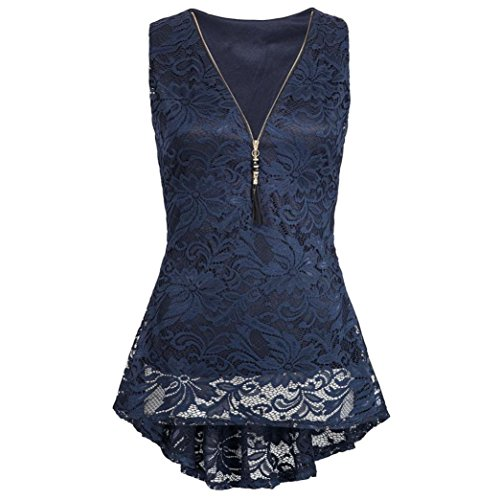 FEITONG Women Zip UpFloral Lace Tank Top Sleeveless Slim Vest Pure T Shirts(Large,Navy)