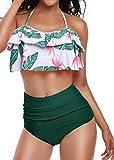 Heat Move Women Retro Flounce High Waisted Bikini Halter Neck Two Piece Swimsuit (Green, M)