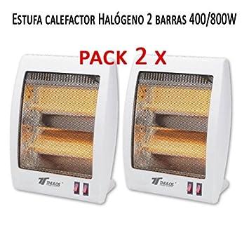 Estufa 2 tubos de cuarzo 400/800W Calefactor Calentador Radiador Halogeno Calor. Sistema de seguridad contra caídas. (Pack de 2 calefactores): Amazon.es: ...