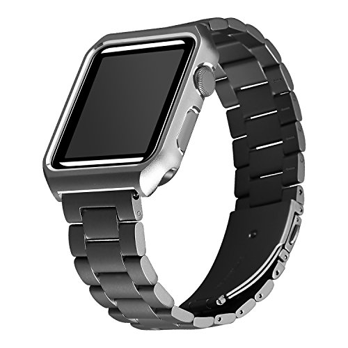 for Apple Watch Bands 38mm, Maxjoy iWatch Bands Milanese Loop Stainless Steel Straps with Magnetic Closure Clasp + Protective Case for Apple Watch 38mm Series 3/2/1 Sports Edition Men Women Black