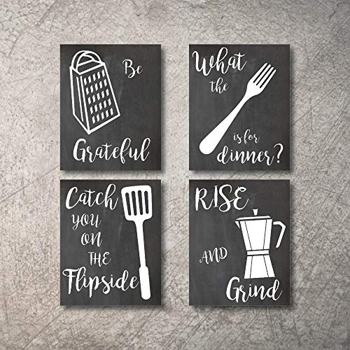 Kitchen Wall Decor Art Prints 4 UNFRAMED Rustic Wall Signs Home Coffee Decor Pictures Funny and Inspirational Farmhouse Style Wall Decorations Living Dining Room Cuadros pared de cocina (Black, 5x7) (Room Dining Hangings For Wall)