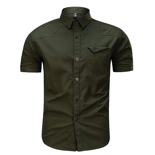 1f4f9b906c4e MODOQO Men s Short Sleeve Button Down Shirt Casual Loose Fit Army Military Summer  T-Shirt