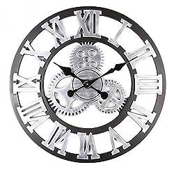 SparrK Retro Gear Clock Living Room Wall Clock Custom Creative Clock Wooden 3D Wall Clock (Silver, 16 inch)