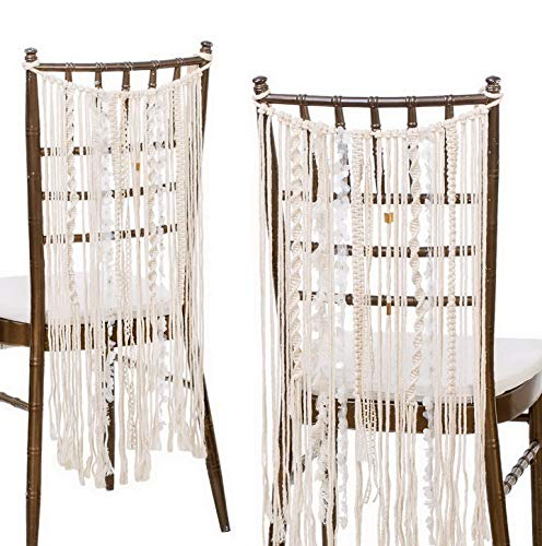 Werrox Bohemian Bride and Groom Chair Back Decor Macrame Tassel Chair Back Banner Chair Hanger Macrame Wall Hanging Decoration Set of 2 | Model WDDNG -3884 ()