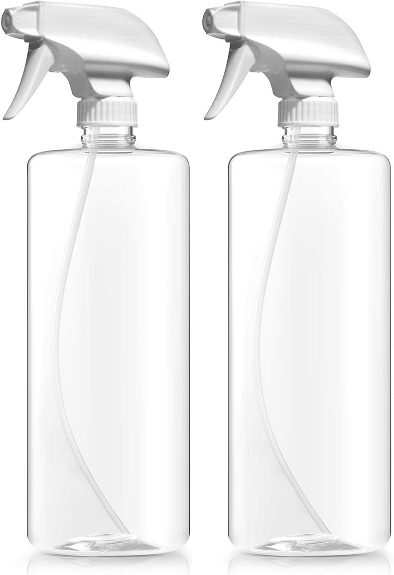 Bar5F Plastic Spray Bottles, Food Safe BPA Free PETE1, 32 Ounce, Crystal Clear, N7 Sprayer - Spray/Stream/Off, Pack of 2