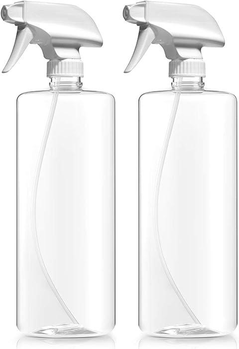 Bar5F Plastic Spray Bottles, Food Safe BPA Free PETE1, 32 Ounce, Crystal Clear, N7 Sprayer - Spray/Stream/Off, Pack of 2
