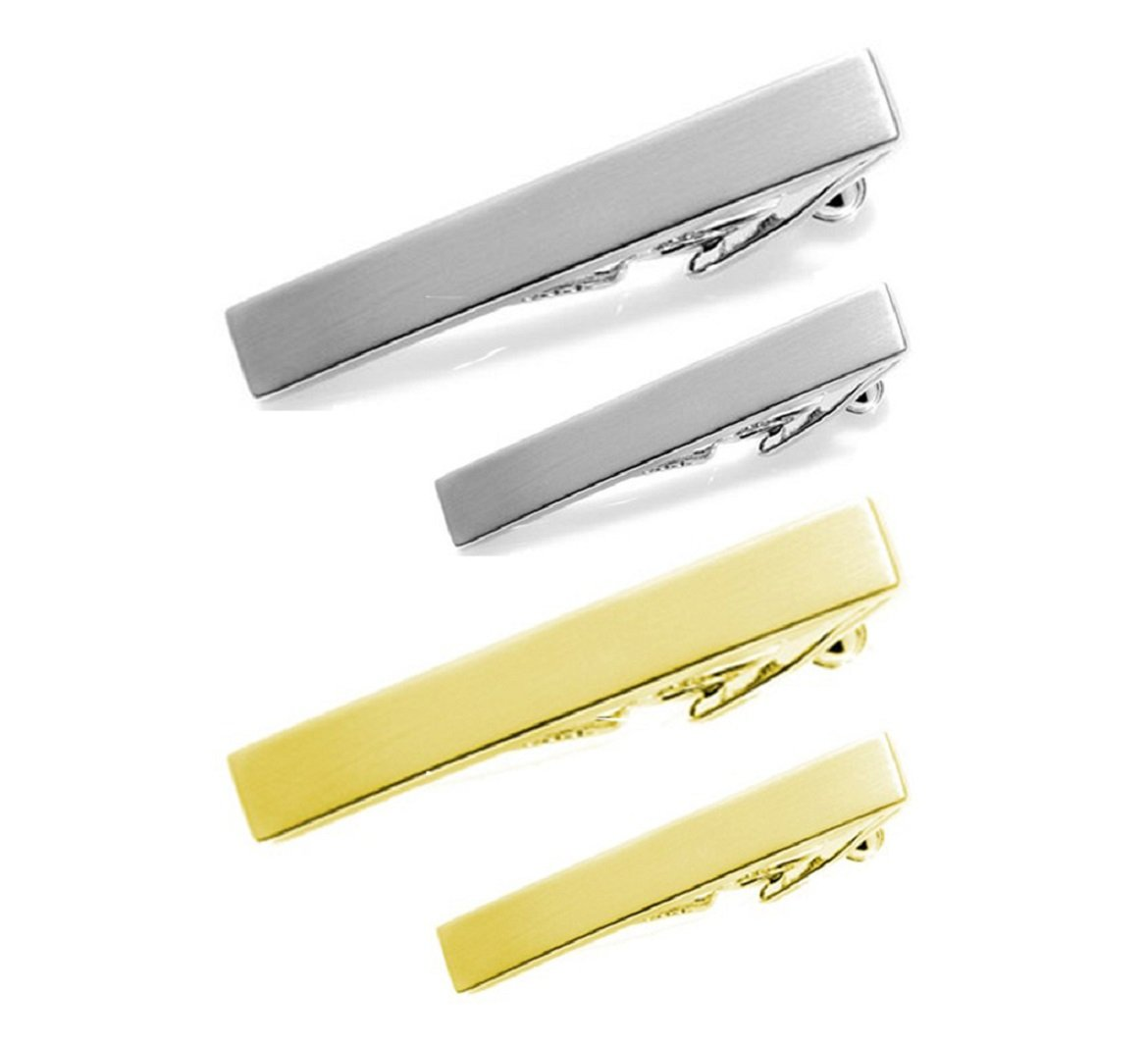 SKATECO Tie Clip Bar Set of 4 in Two Sizes, Regular Ties and Skinny Ties. 2 inch and 1.5 inch in Gold and Silver. Business Professional Fashion.