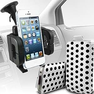 LG L90 Protección Premium Polka PU tracción Piel Tab Slip espinal en bolsa de la cubierta de piel de bolsillo rápido con soporte universal de la succión del parabrisas del coche Vent Cuna Blanco y Negro por Spyrox