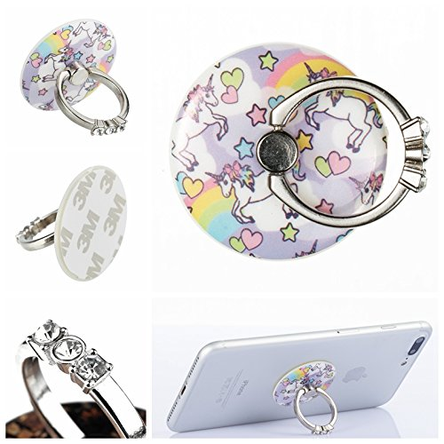 Urberry Phone Ring Stand Holder, Skull Printed Adjustable Universal Smartphones Grip Kickstand Holder (Round-Unicorn) (Call Total Mobile)