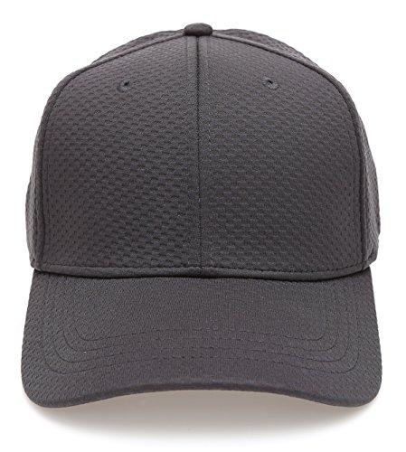 Plain Polyester Twill Baseball Cap Hat with Flex fit Elastic Band(1735,Dark ()