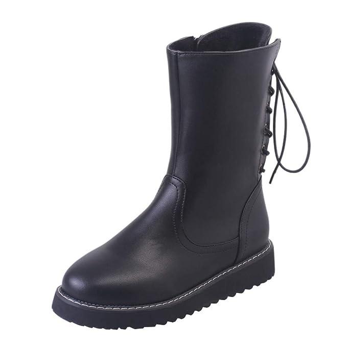 Mymyguoe Zapatos de Invierno Mujer,Mujeres Planas Botines Cortos con Cordones MotoZapatos Militares Movimiento Estilo BritáNico Black Friday Botas Zapatos ...