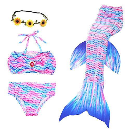 QIJOVO 3PCS Girls Mermaid Tail for Swimming Bikini Swimmable Custome Swimwear (Without (Swimming Costumes For 9 Year Olds)
