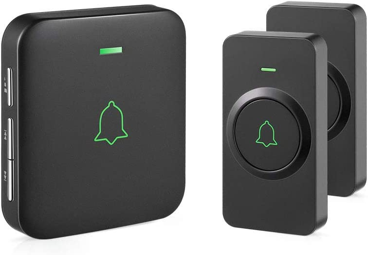 Wireless Door Bell, AVANTEK CB-21 Mini Waterproof Wireless Doorbell Operating at Over 1000 Feet, 2 Remote Buttons Can Have Different Tones, 52 Melodies, CD Quality Sound and LED Flash