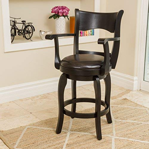 Christopher Knight Home 296821 Cody Armed Espresso Leather Swivel Counter Stool, ()