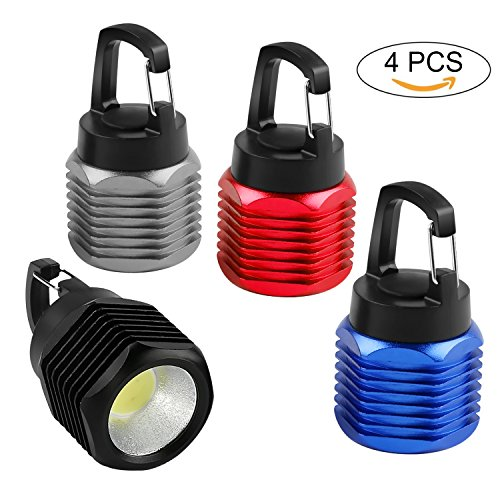 Ultra Bright Led Keychain Light (4 Pack Mini COB Keychain Flashlight Ultra Bright Aluminium Alloy Pocket LED Flashlight/ Night Light/ Emergency Light with Carabiner, Batteries Included)