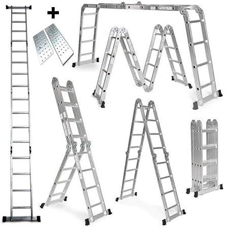 Grandmaster - Escalera De Aluminio Plegable 475cm, Escalera Multifuncional 6 En 1, Plataforma Incluida, Carga Máxima 150kg, Diseño Antideslizante, Tamaño Plegado 126x63x27cm: Amazon.es: Bricolaje y herramientas