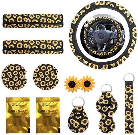 Sunflower Bag Vent Decorations and Keyring Sunflower Car Accessories Set 8Pcs INTSUN Includes Cute Sunflower Steering Wheel Cover Seat Belt Covers Women Men Universal