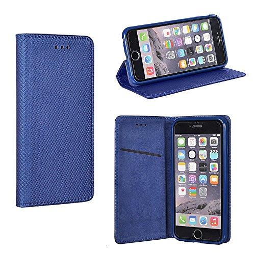 """BOOK CASE SMART MAGNET dunkel blau für Apple iPhone 7 4,7"""" Cover Handy Tasche Flipcase Etui Buchform Kunststoff TPU Halterung für Kreditkarten"""