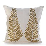 "Luxury Ivory Pillow Shams, Zardozi & Beaded Tree Ethnic Glitter Pillow Shams, 24""x24"" Pillow Sham, Square Cotton Linen Shams, Modern Pillow Shams - Binary Tree Home"