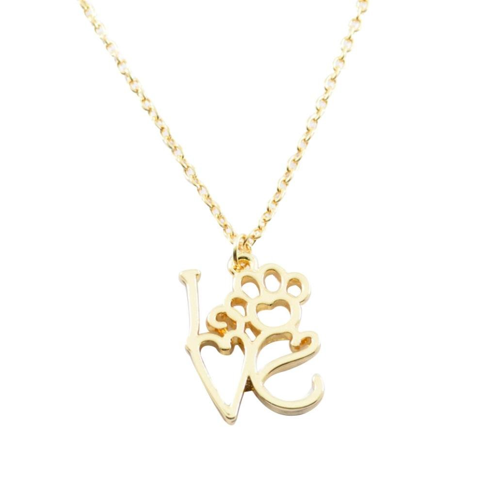 Exteren Personalized Dog Paw Crystal Pendant Gold Plated Wire Wrap Rhinestone Necklace Jewelry for Women (Gold)