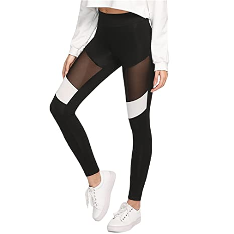 898851999f9ea5 Image Unavailable. Image not available for. Color: FITN Women Workout Leggings  Black Fitness Contrast Mesh Color Block ...