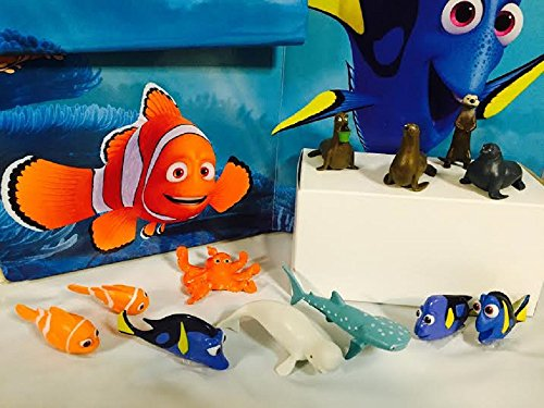 Disney Finding Dory Figure Set of 12 Mini Cake Toppers / Cupcake Decorations Party Favors with Dory, Nemo, Marlin, Hank, Bailey, Destiny, Charlie, Jenny, and more! ()