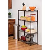 Single Piece Dark Bronze 4-Tier Indoor Shelving Rack, Metal Shelving Rack, Multi Purpose Utilize, In The Kitchen for Displaying Dishes Or In The Bedroom To Store Books, CDs And Other Items