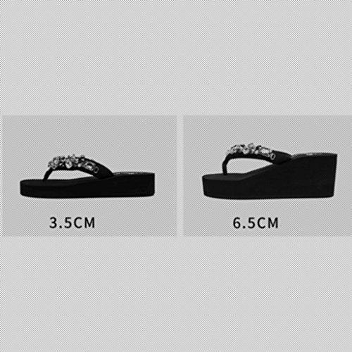 Cool CN37 À Talons Pantoufles Mode 5 Xy® Slope Flops 3 Flip Clip De Taille Femelle Hauts UK4 5 EU37 Couleur Bottom Épais Sandales Flop 5cm D'été 6 Pieds Extérieure Flip 5cm aZUafx