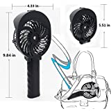 ANEWSIR Spray Misting Handheld Fan, USB Rechargeable Battery Foldable Water Spray Fan For Room Office Outdoor Travel Etc [Black]