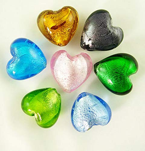 Silver Foil Glass Heart - Craftdady 200pcs Heart Shape Mixed Colors Lampwork Silver Foil Glass Beads Loose Beads Charm for Bracelets Earrings Jewelry Making