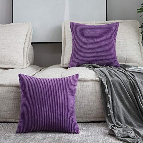 HOME BRILLIANT Decor Supersoft Striped Velvet Corduroy Decorative Throw Toss Pillowcase Cushion Cover for Chair, Eggplant, (45x45 cm, 18inch), 2 Pieces
