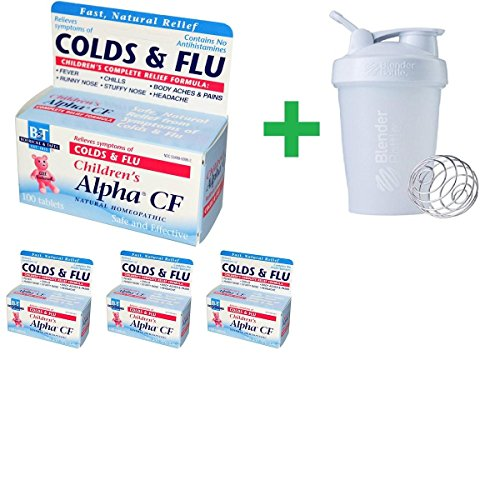 Boericke & Tafel, Children's Alpha CF, 100 Tablets(4 Packs)+ Assorted Sundesa, BlenderBottle, Classic With Loop, 20 oz Alpha Cf 100 Tab