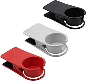 Jiozermi 3pcs Drink Cup Holder Clip, Cup Holders with Side Hole for Water Drink Beverage Soda Coffee Mug, Snap to Tables Desks Chairs Shelves Counters (Red, Black and White)