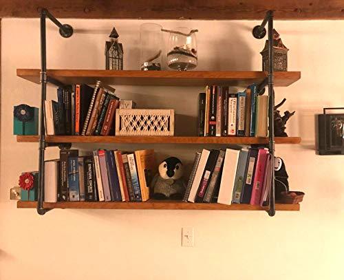 42'' H x 12'' D Industrial Wall Mount Iron Pipe Shelf Shelves Shelving Bracket Vintage Retro Black DIY Open Bookshelf DIY Storage offcie Room Kitchen (2 Pcs 4Tier Hardware Only) by My Rustic (Image #2)